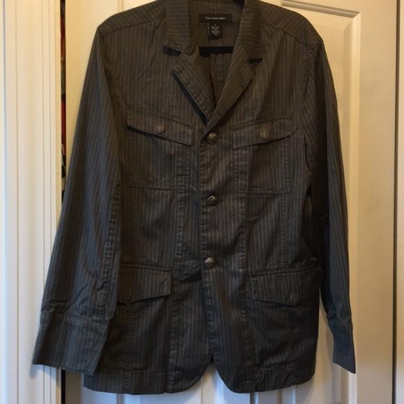 Calvin Klein Other - Men's Calvin Klein brown/gray striped blazer